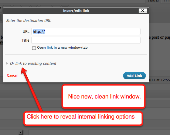 Wordpress 3.1 internal link creation