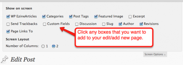 Select the fields you want to appear on your WordPress page
